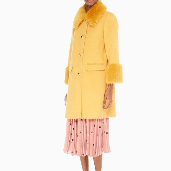 Kate Spade Jackets & Blazers - New Kate Spade Fluffy wool faux fur yellow coat